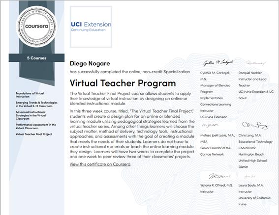 Especialização em Ensino Virtual pela UCI – University of